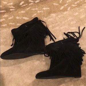 Black fringe ankle boots